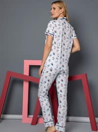 Blue - Shawl Collar - Multi - - Pyjama Set