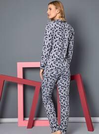 Gray - Shawl Collar - Multi - - Pyjama Set