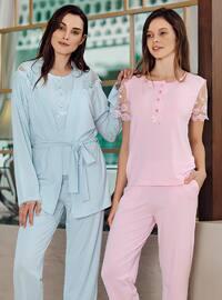 Blue - Crew neck - Modal - - Pyjama Set