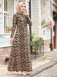 Leopard - Leopard - Crew neck - Unlined - Dress