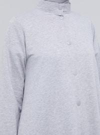 Gray - Unlined - Crew neck -  - Topcoat