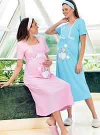 Pink - Multi - Sweatheart Neckline - - Nightdress