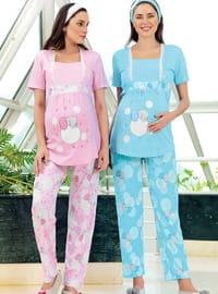 Blue - Multi -  - Maternity Pyjamas