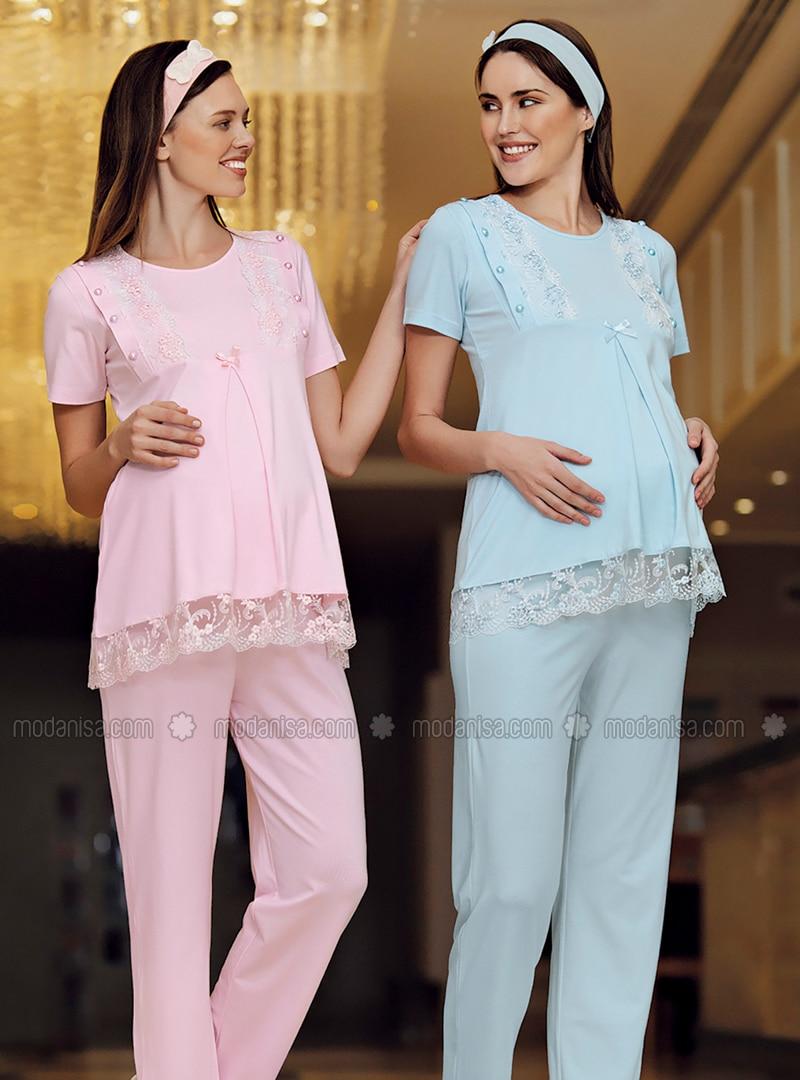 Blue - Modal -  - Maternity Pyjamas