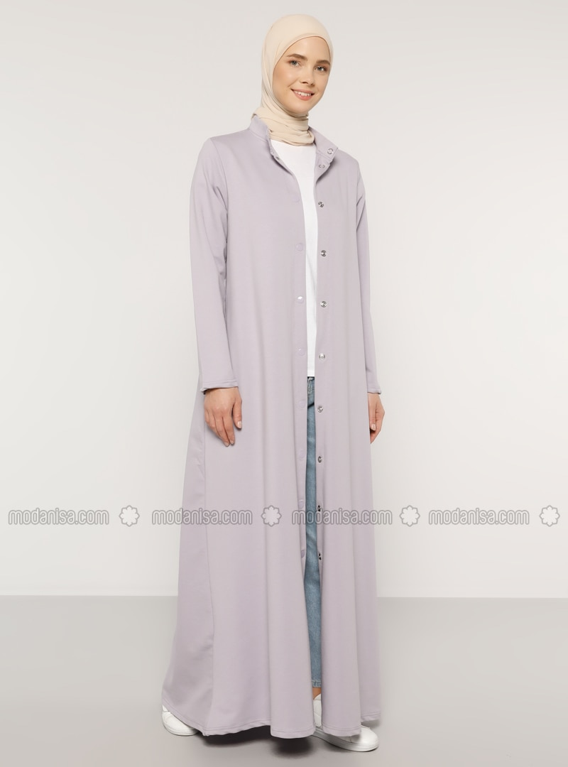 Lilac - Unlined - Crew neck -  - Topcoat