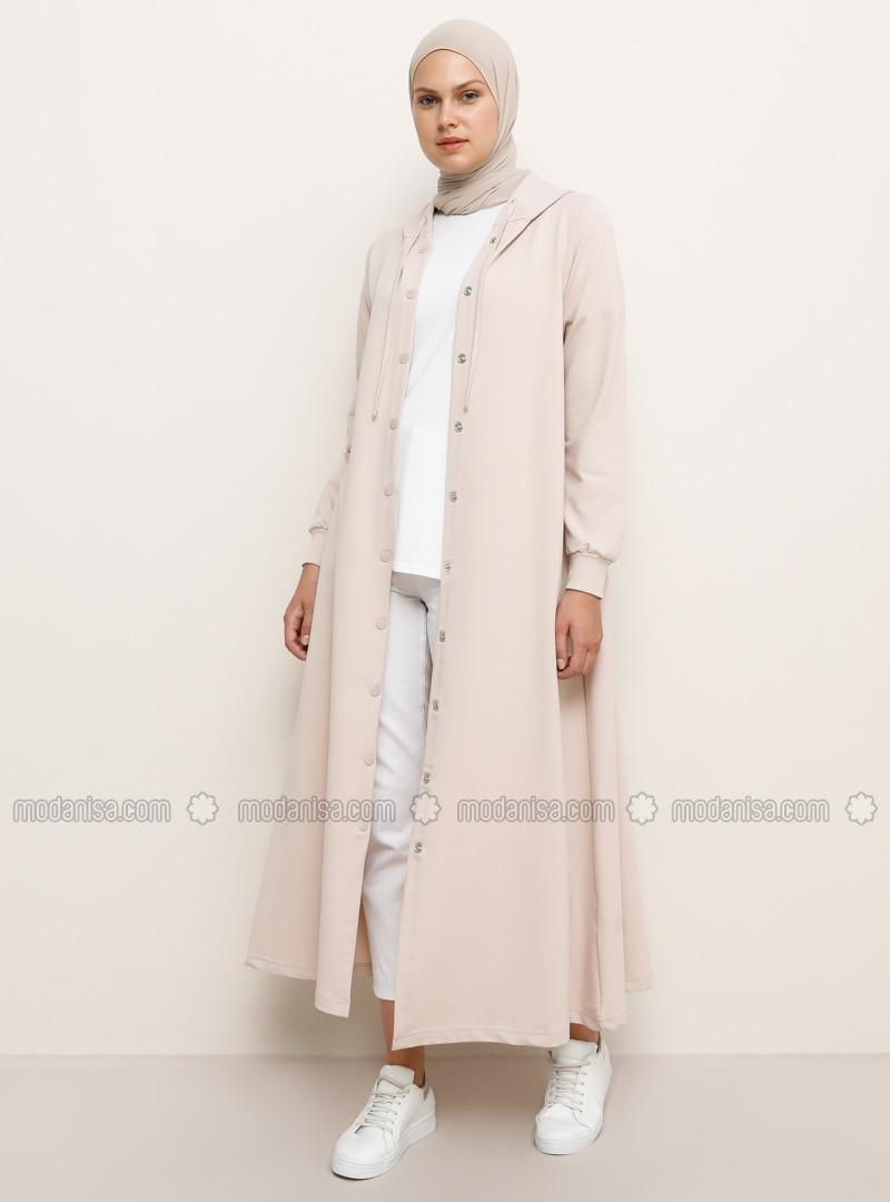 Beige - Unlined - Cotton - Topcoat