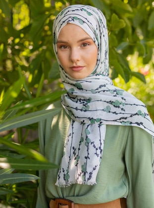 Multi - Green - Floral - Printed - Shawl
