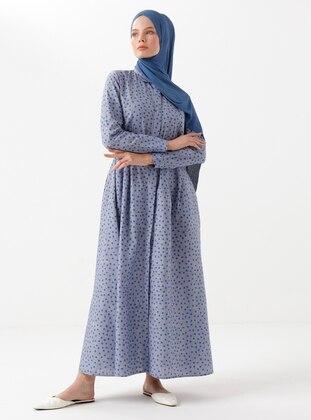 Blue - Polka Dot - Round Collar - Linen - Viscose - Dress