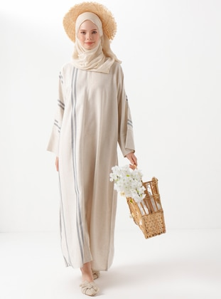 Beige - Stripe - Linen - Viscose - Abaya