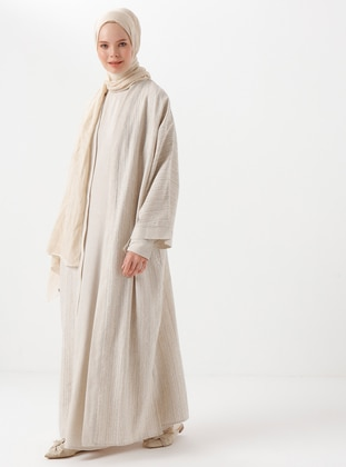 Beige - Stripe - Unlined - Shawl Collar - Viscose - Abaya