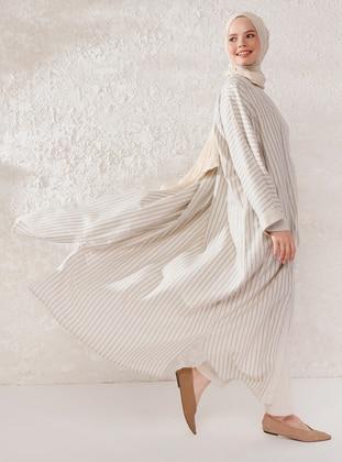 Beige - Stripe - Shawl Collar - Linen - Viscose - Topcoat