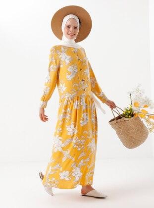 Yellow - Floral - Viscose - Dress