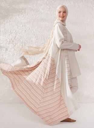 Beige - Brown - Stripe - Shawl Collar - Linen - Viscose - Topcoat