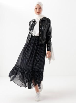 Black - Point Collar - Linen - Viscose - Jacket