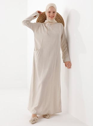 Beige - Beige - Linen - Viscose - Modest Dress