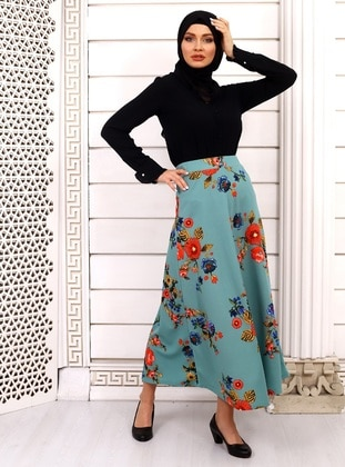 Mint - Floral - Unlined - Skirt