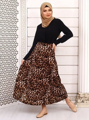 Black - Leopard - Unlined - Skirt