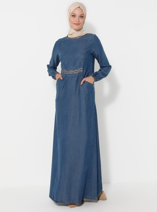 Indigo - Crew neck - Unlined - Denim -  Lyocell - Dress