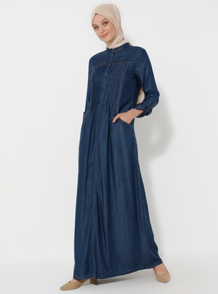 Navy Blue - Crew neck - Unlined - Denim -  Lyocell - Dress