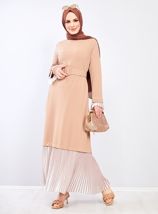 Beige - Crew neck - Crepe - Dress