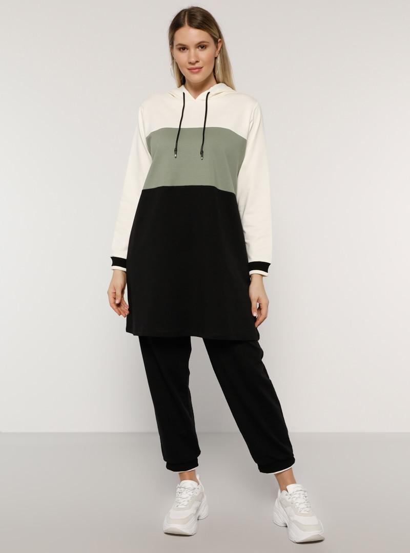 Plus Size Tracksuit Sets Alia Black / Olive Green / Green