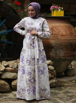Purple - Floral - Crew neck - Unlined -  - Dress
