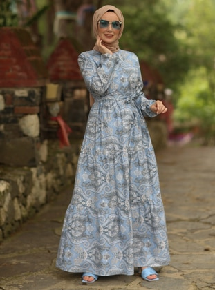 Turquoise - Multi - Crew neck - Unlined -  - Dress