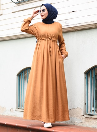Camel - Crew neck - Unlined - Crepe - Dress