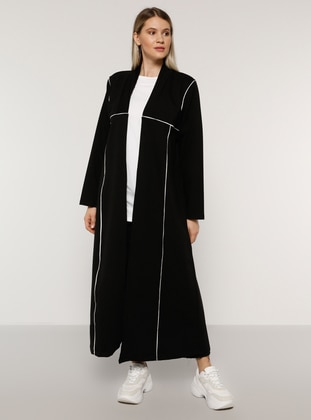 White - Ecru - Black - Unlined -  - Plus Size Coat