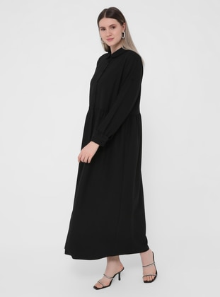 Black - Unlined - Round Collar - Plus Size Dress