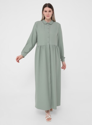 Olive Green - Unlined - Round Collar - Plus Size Dress