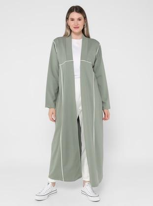 Ecru - Olive Green - Unlined - - Plus Size Coat