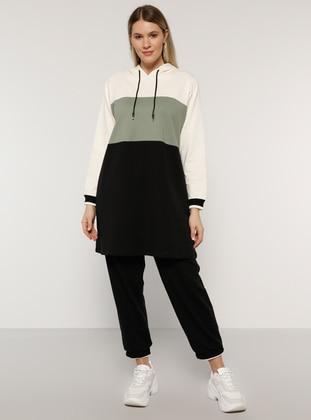 Black - Olive Green - Green -  - Plus Size Tracksuit Sets - Alia