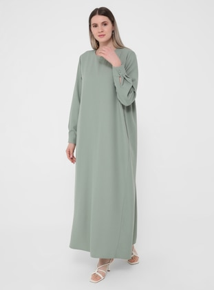 Olive Green - Unlined - Crew neck - Plus Size Dress