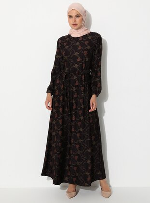 Maroon - Floral - Crew neck - Unlined - Viscose - Dress