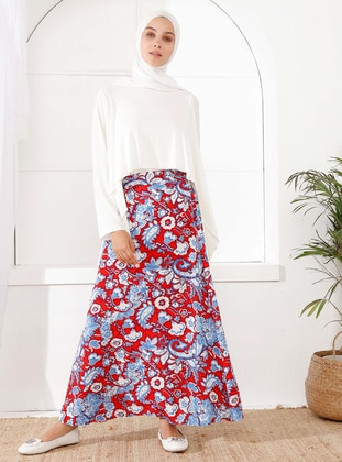 Red - Floral - Unlined - Viscose - Skirt