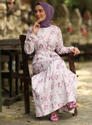 Purple - Purple - Floral - Crew neck - Unlined - Cotton - Dress