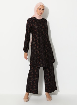 Maroon - Floral - Crew neck - Viscose - Tunic
