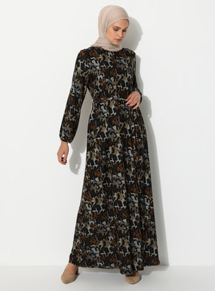 Black - Multi - Crew neck - Unlined - Viscose - Dress