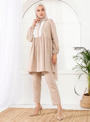 Beige - Unlined - Viscose - Suit