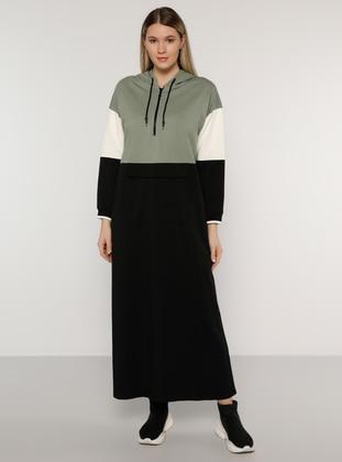 Ecru - Black - Olive Green - Unlined -  - Plus Size Dress - Alia