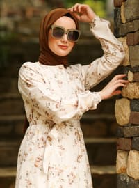 Brown - Floral - Crew neck - Unlined -  - Dress