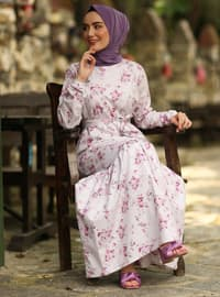 Purple - Purple - Floral - Crew neck - Unlined - Cotton - Dress