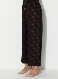 Maroon - Floral - Viscose - Pants