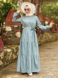 Indigo - Indigo - Crew neck - Unlined - Cotton - Dress
