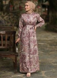 Dusty Rose - Dusty Rose - Multi - Crew neck - Unlined - Cotton - Dress