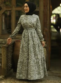 Gray - Gray - Multi - Crew neck - Unlined - Cotton - Dress