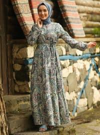 Indigo - Indigo - Multi - Crew neck - Unlined - Cotton - Dress