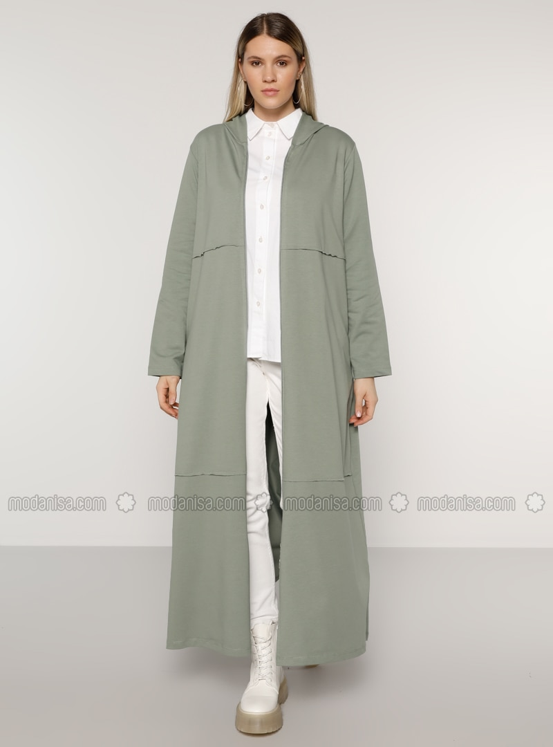 Olive Green - Unlined -  - Plus Size Coat