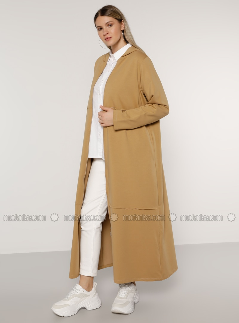 Stone - Unlined -  - Plus Size Coat